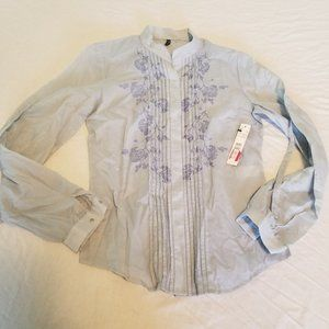 NWT Tahari Pastel Baby Blue Button Blouse Top